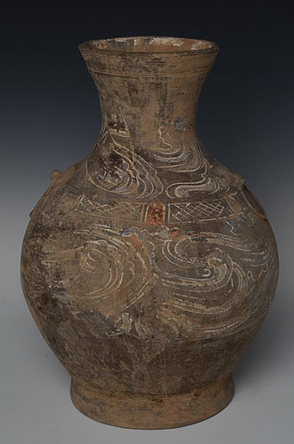 Han Dynasty, Chinese Painted Pottery Hu Jar