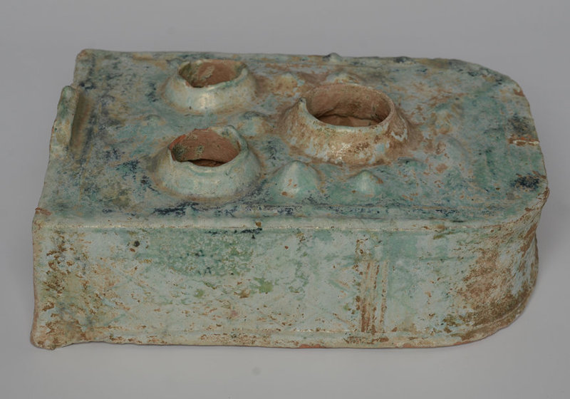 Han Dynasty, Chinese Green Glazed Pottery Stove with Silvery Surface