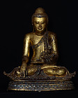 Early 19th C., Early Mandalay, Large Burmese Bronze Seated Buddha