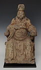 15th C., Ming Dynasty, Chinese Sandstone Seated Money God