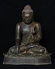 19th C., Mandalay, Large Burmese Bronze Seated Buddha