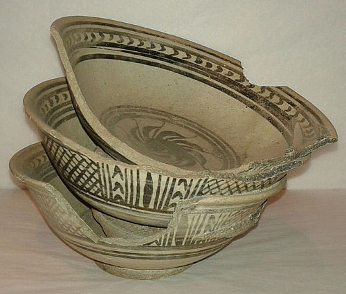 14th - 16th C., Triple Sukhothai Iron Black Underglaze Bowls