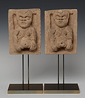 Song Dynasty, A Pair of Chinese Pottery Panels with Figure Design