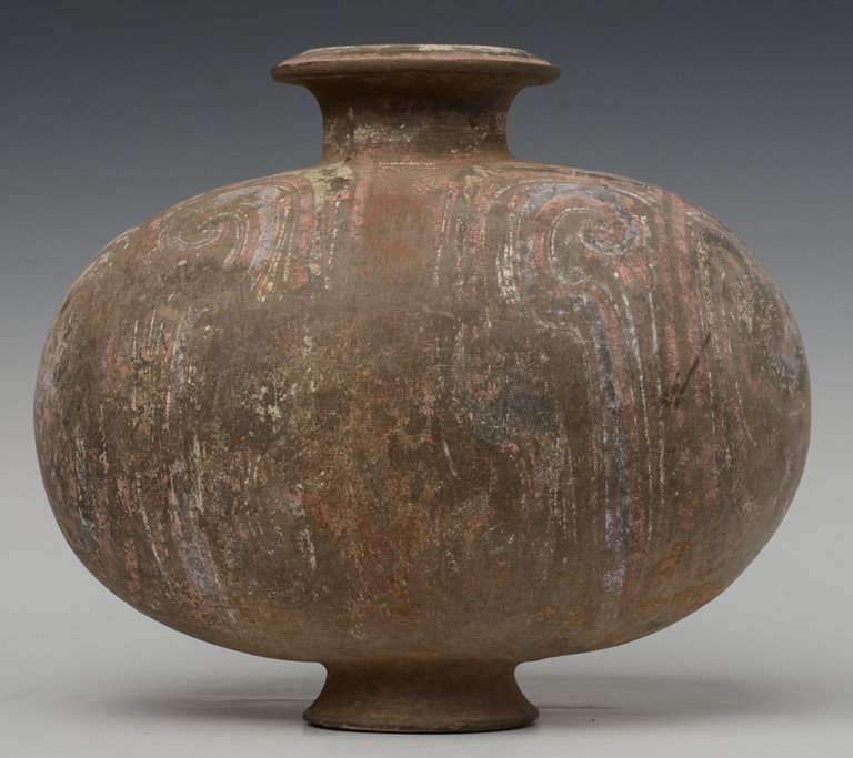 Han Dynasty, Chinese Painted Pottery Cocoon Jar