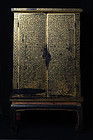 19th Century, Rattanakosin, Thai Wooden Gilded Gold Bible Cabinet