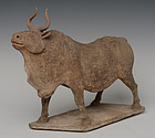 Tang Dynasty, Chinese Pottery Standing Ox with Oxford Test