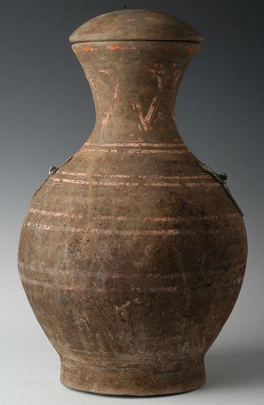Han Dynasty, Chinese Painted Pottery Hu Jar