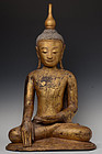 15th C., Ava, Burmese Paper Mache' Seated Buddha