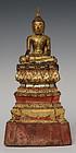 18th Century, Ayudhaya, Thai Wooden Seated Buddha