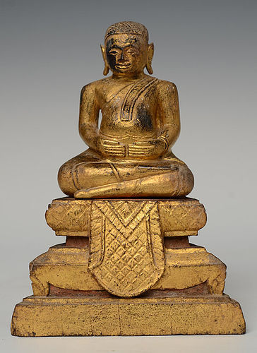 19th Century, Rattanakosin, Thai Wooden Seated Happy Buddha