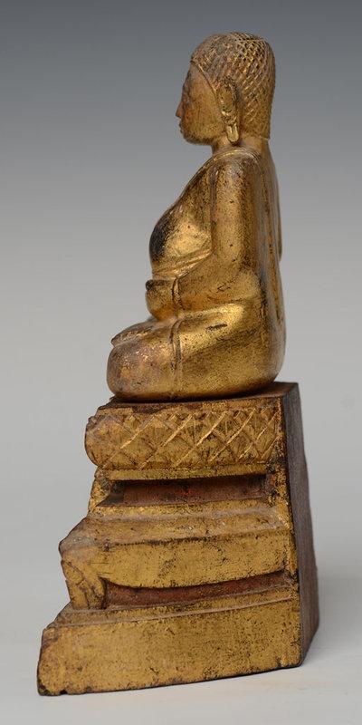 19th Century, Rattanakosin, Thai Wooden Seated Happy Buddha