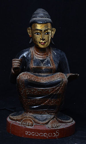19th Century, Mandalay, Burmese Wooden Sitting Nat