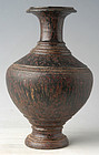 12-13 th C., Bayon, Khmer Brown Glazed Jar with Carved Decoration