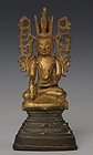 18th Century, Shan, Burmese Bronze Seated Crowned Buddha