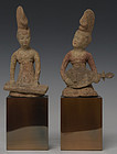 A Pair Chinese Painted Pottery Musicians with Oxford Test