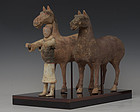 Han Dynasty, A Set of Chinese Painted Pottery Horses and Rider