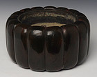 Late 19th C., Japanese Keyaki Wooden Hibachi Vessel in The Fruit Form