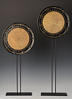 Late 19th C., Meiji, A Pair of Japanese Ox Skin Gongs