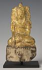 18th C., Shan, Burmese Alabaster Seated Crowned Buddha