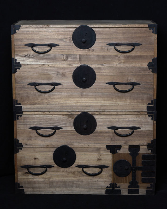 Taisho, Japanese Wooden Clothing Chest (Sendai-Tansu)