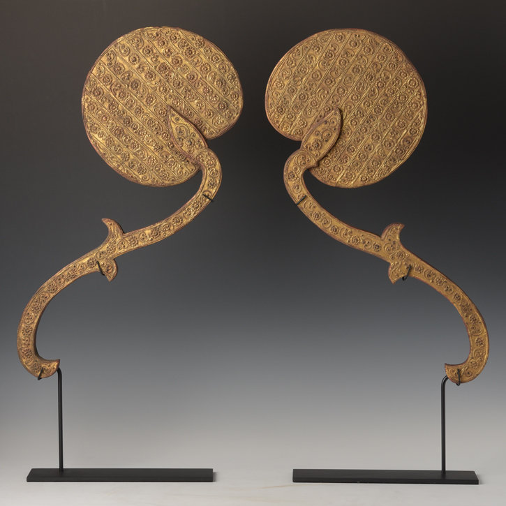 A Pair of Burmese Wooden Fans with Gilded Gold and Glass