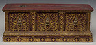 19th C., Rattanakosin, Thai Wooden Bible Chest with Gilded Gold