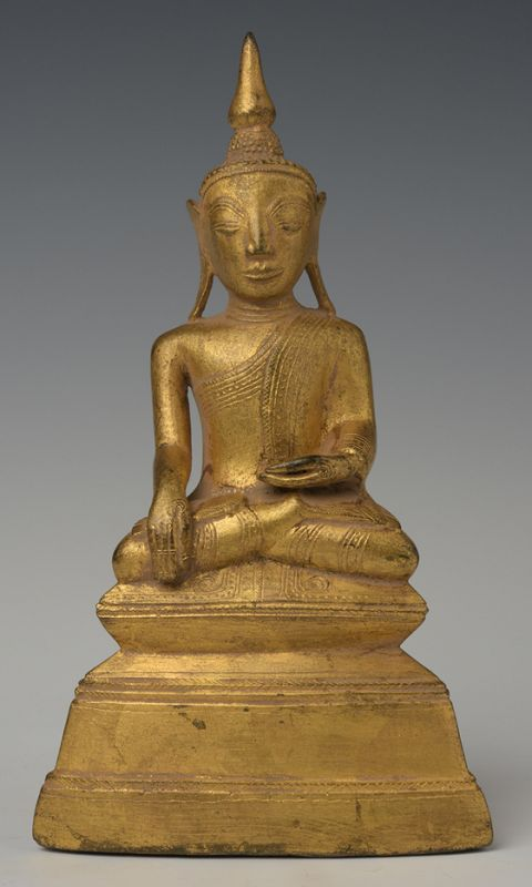 18th Century, Shan, Burmese Bronze Seated Buddha with Gilded Gold