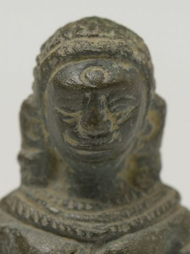 12th C., Angkor Vat, A Miniature Khmer Bronze Seated Figure