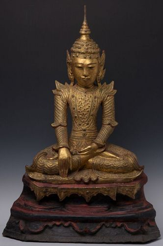 Early 19th Century, Burmese Paper Mache' Seated Crowned Buddha