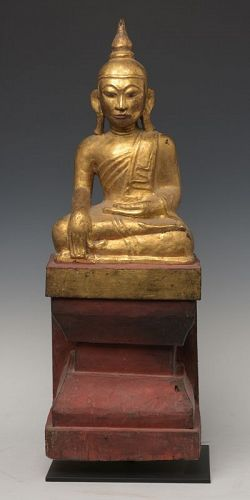 18th Century, Tai Yai, Burmese Wooden Seated Buddha