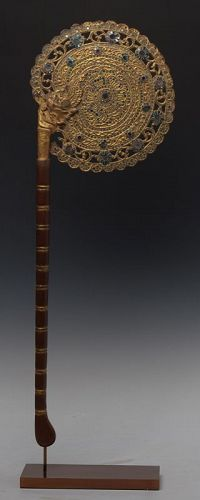 19th C., Mandalay, Burmese Wooden Fan with Gilded Gold and Glasses