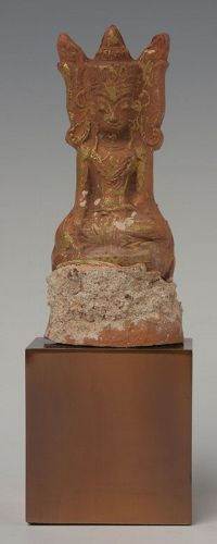 15th C., Ava, Miniature Burmese Pottery Seated Crowned Buddha