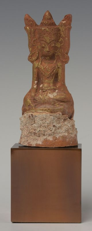 15th Century, Ava, Burmese Pottery Seated Crowned Buddha