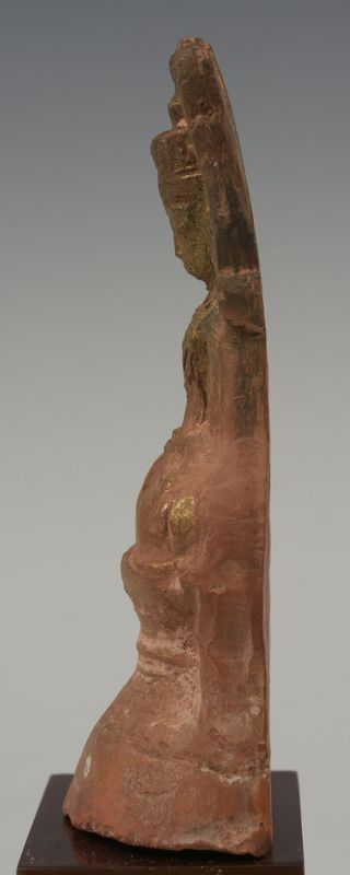 15th Century, Ava, Burmese Pottery Seated Crowned Buddha