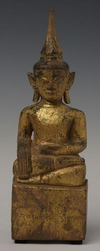 18th C., Shan, Tai Lue Burmese Wooden Seated Buddha