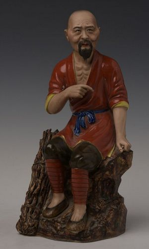 Early 20th Century, Chinese Painted Porcelain Man Figurine