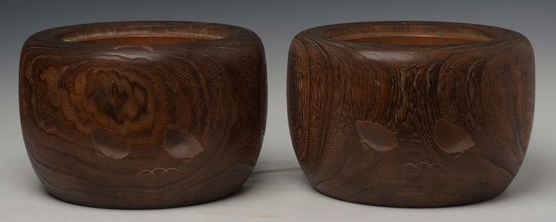 Late 19th C., Meiji, A Pair of Japanese Keyaki Wooden Hibachi Vessels