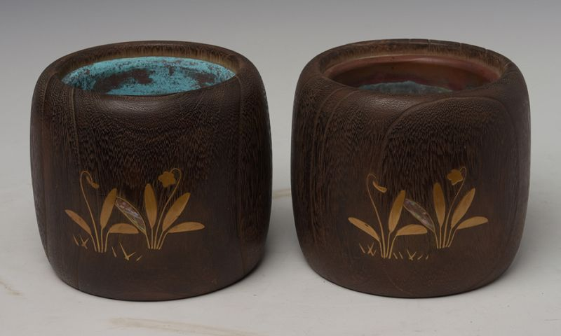 Late 19th C., Meiji, A Pair of Japanese Keyaki Wooden Hibachi Vessels