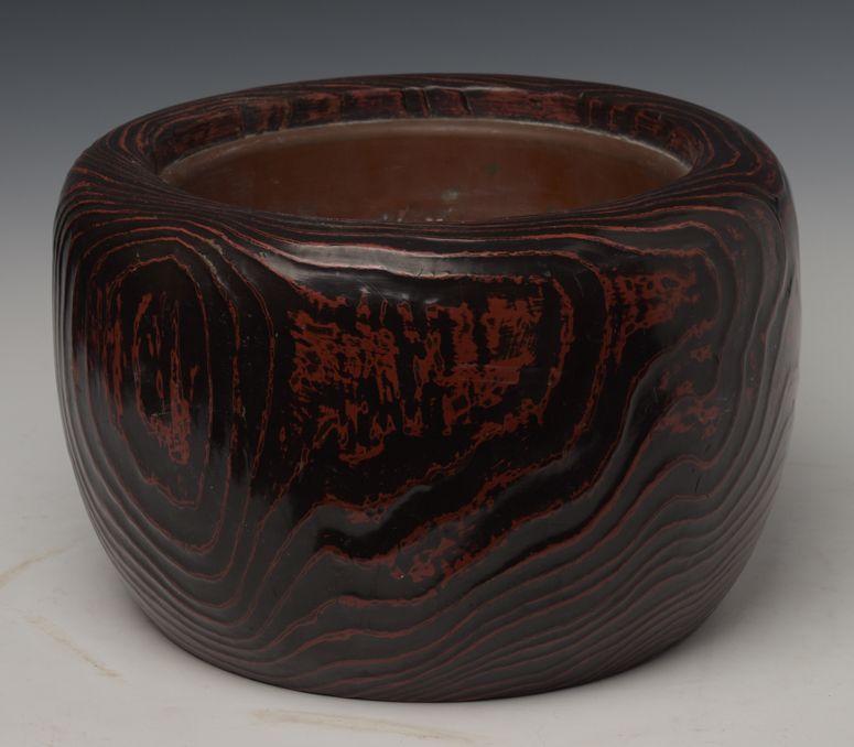 Late 19th C., Meiji, Japanese Keyaki Wooden Hibachi Vessel