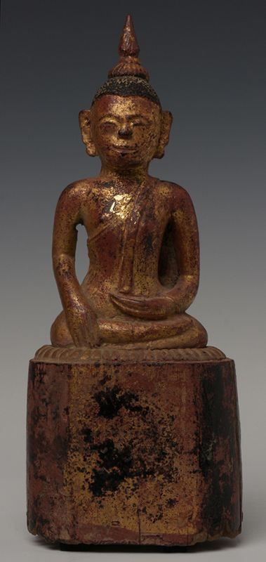 19th Century, Lanna Thai Wooden Seated Buddha
