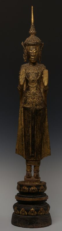 19th C., Rattanakosin, Thai Wooden Standing Crowned Buddha