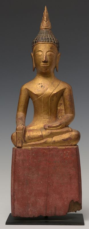 19th Century, Lanna Thai Wooden Sitting Buddha
