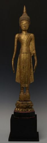 19th Century, Laos Wooden Standing Buddha
