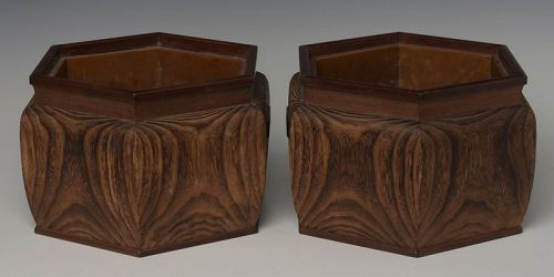 Late 19th C., Maiji, A Pair of Japanese Keyaki Wooden Hibachi Vessels