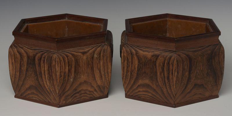Late 19th C., Maiji, A Pair of Japanese Keyaki Wooden Hibachi Vessels