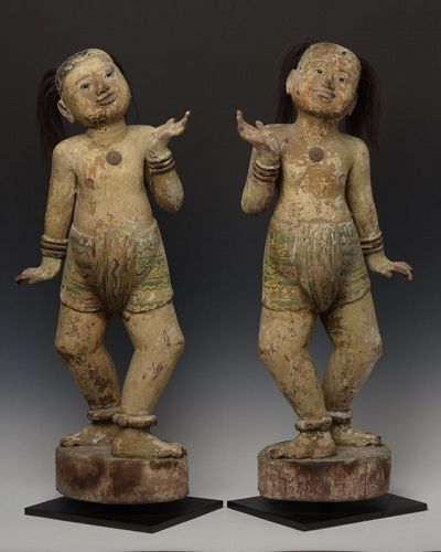 Early 19th C., A Pair of Burmese Wooden Standing Figures