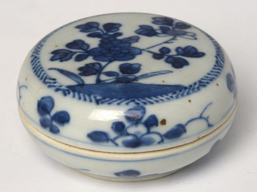 Early 18th C., Kangxi, Chinese Porcelain Blue and White Covered Box