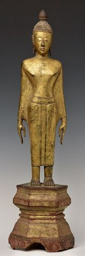 19th Century, Thai (Nan) Wooden Standing Buddha