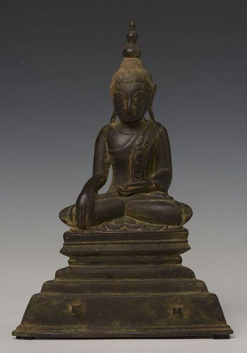 18th Century, Shan, Burmese Bronze Seated Buddha