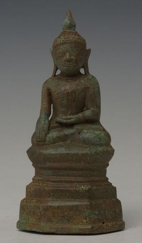 16th Century, Shan, Burmese Bronze Seated Buddha